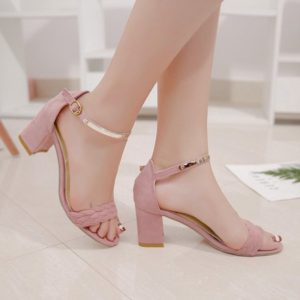 Flock Casual Solid Chunky Heel Trendy Womens Sandals