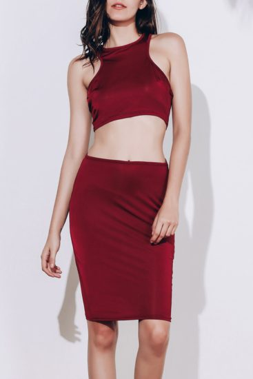 Red Sexy Knee Length Summer Two Piece Skirt for Women
