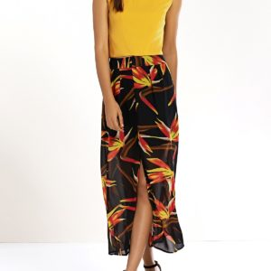 Bohemian Elastic Ankle Length Floral Skirt Twinset for Women