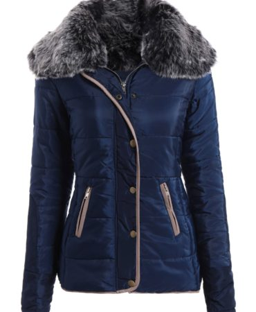 Womens Fashion Coat Padded With Faux Fur and Pockets