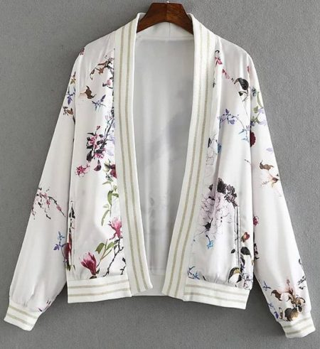 Slim All Seasons Fashion Printed Floral Womens Jacket