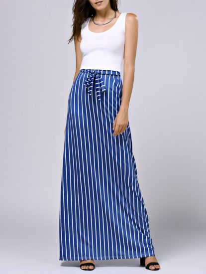 Spring Summer Casual Floor Length Two Piece Striped Skirt