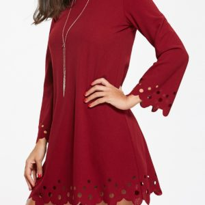 Red Casual Fall Spring Mini Long Sleeves Womens Dress