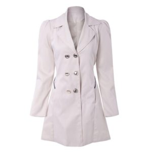Solid Long Buttoned Fashionable Cotton Fit Womens Coat