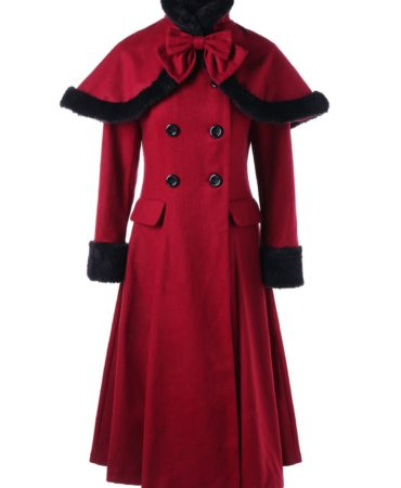 Fall Spring Wool Solid Long Red Vintage Womens Coat