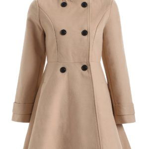 Fall Spring Fashion Buttoned Solid Coat for Ladies