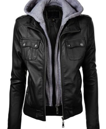 Black Fashion Pu Leather Wide Waisted Fall Winter Hooded Jacket for Womens