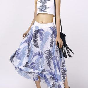 Trendy Summer Mid Calf Crop Top Printed Two Piece Dress for Women