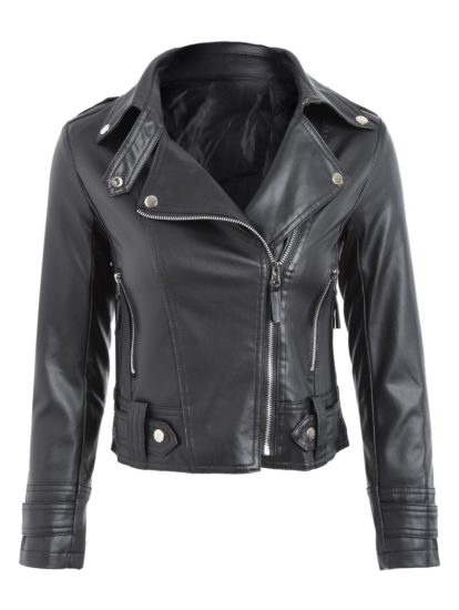 Fall Spring Fashion Solid Pu Leather Moto Jacket for Womens