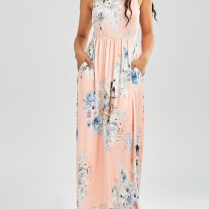 Summer Floor Length Floral Printed Maxi Dress for Women