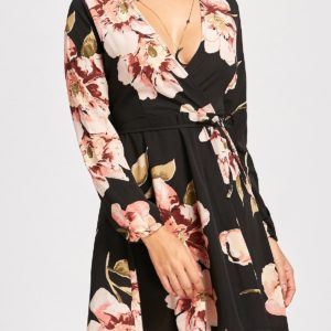 Casual Black Fall Spring Mini Long Sleeves Floral Dress for Womens