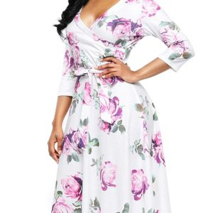 Fall Spring Casual Floral Mid Calf Womens Wrap Dress