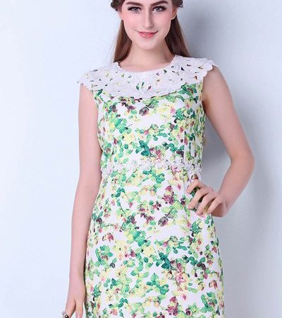 Summer Green Floral Fashion Casual Dress