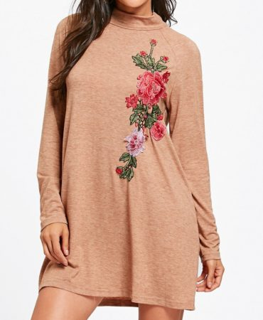 Casual Fall Winter Long Sleeves Mini Floral Dress for Womens