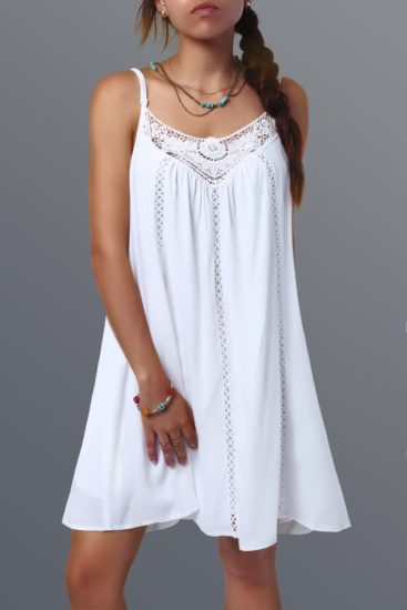 White Casual Summer Sleeveless Female Mini Dress