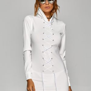 Casual Fall Spring Hooded White Womens Dress