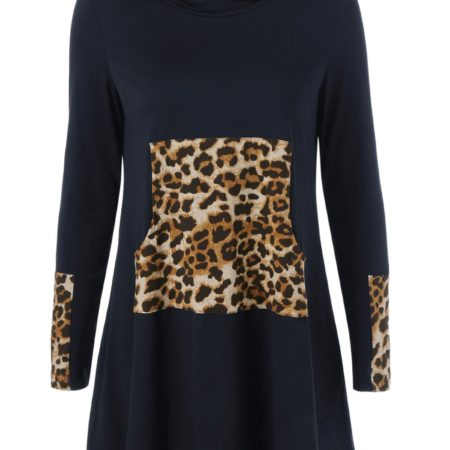 Casual Black Fall Spring Mini Leopard Dress for Womens
