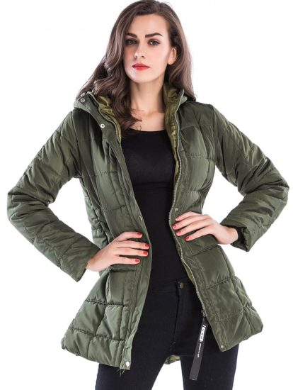 Fashionable Long Padded Solid Female Winter Coat