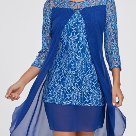 Casual Fall Spring Blue Solid Work Dress