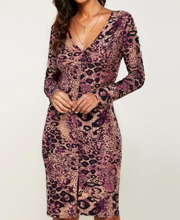 Casual Fall Spring Knee Length Long Sleeves Leopard Dress