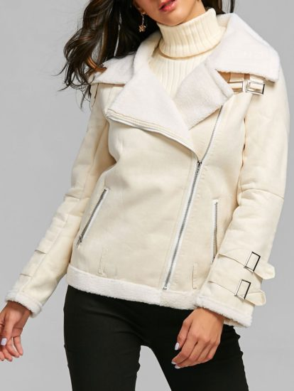 White Solid Slim Fall Winter Womens Fashion Coat
