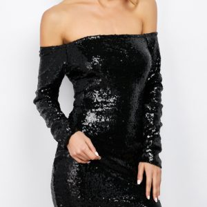 Black Solid Cotton Long Sleeves Bodycon Dress