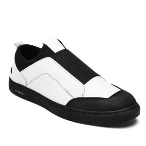Spring Fall Leather Elastic Mens Casual Shoes