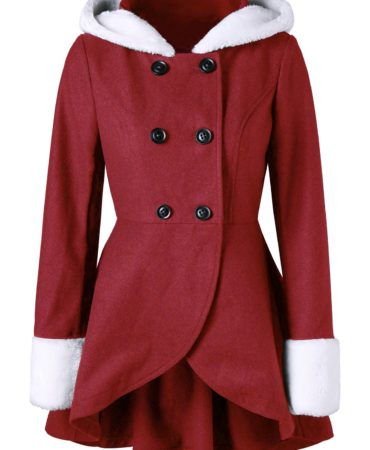 Red Womens Coat Wool With Hood and Vintage Style