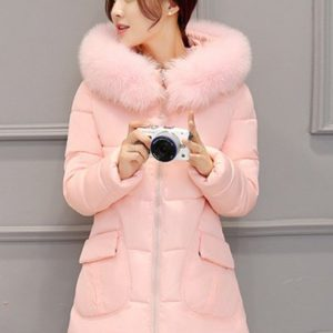 Fashion Winter Solid Long Padded Hooded Womens Coat