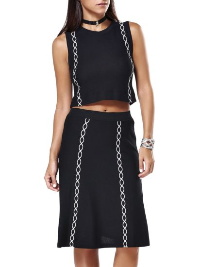 Black Crop Top Knee Length Summer Work Skirt