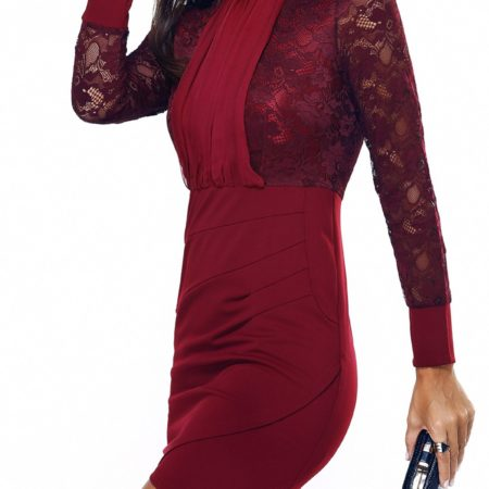 Lace Spring Summer Solid Red Work Dress