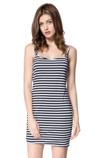 Casual Cotton Knee Length Summer Sleeveless Striped Dress for Women