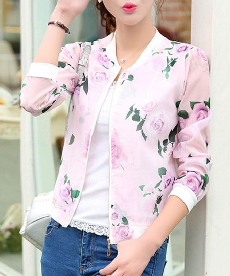 Spring Summer Floral Printed Active Womens Jacket