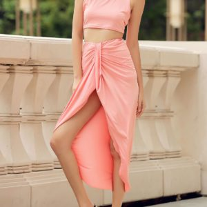 Trendy Asymmetrical Solid Two Piece Skirt Set