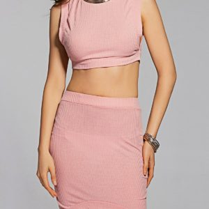 Fashionable Casual Cotton Solid Crop Top Two Piece Mini Skirt for Women