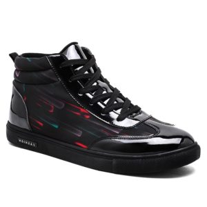 Solid Lace Up Striped Casual Leather Mens Shoes