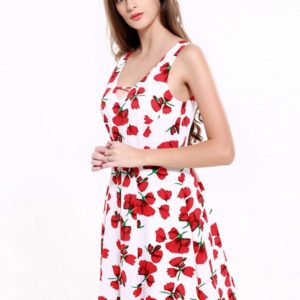 Fashionable Elegant Red and White Knee Length Floral Summer Cute Dress