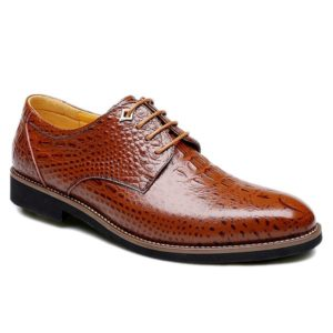 Spring Summer Solid Lace-Up Leather Mens Shoes
