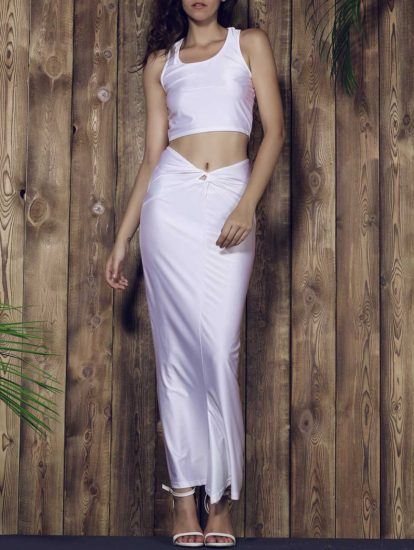 White Solid Sleeveless Bodycon Skirt Womens Twinset