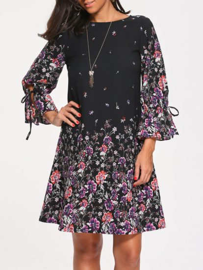 Black Fall Spring Floral Casual Knee Length Printed Dress for Women