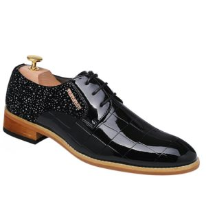 Black Mens Dress Shoes With Lace-Up and Patent Leather