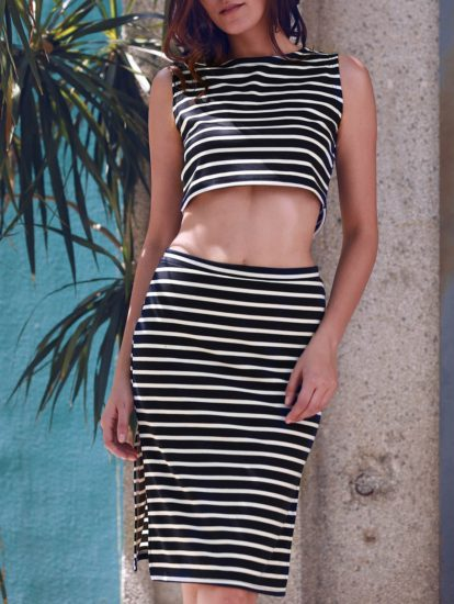Casual Sleeveless Fashion Elastic Summer Striped Skirt for Ladies
