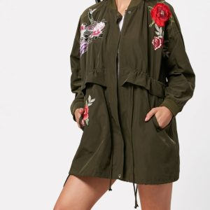 Casual Fall Spring Wide Waisted Trendy Floral Ladies Coat