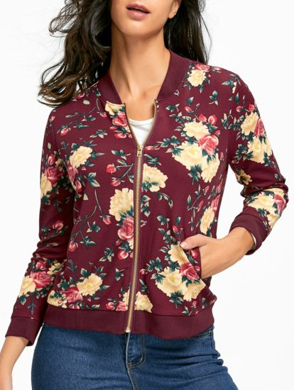 Slim Flowers Design Fall Spring Trendy Womens Jacket