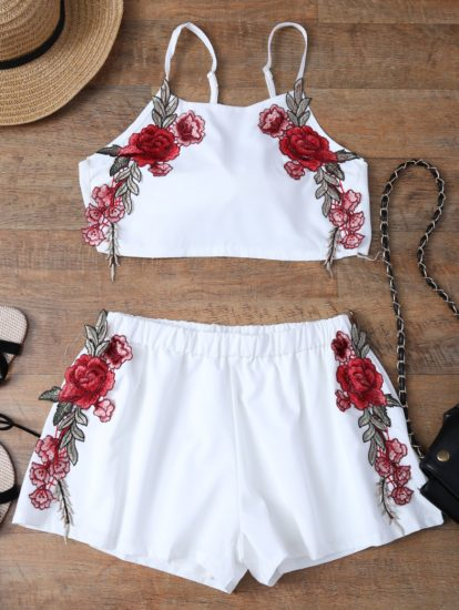 Casual Fashion Elegant Floral Top Shorts Set