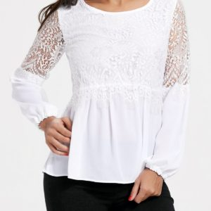 White Casual Fall Spring Fashion Lace Womens Top