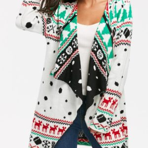 Casual Collarless Trendy Fall Winter Knitted Cardigan for Ladies