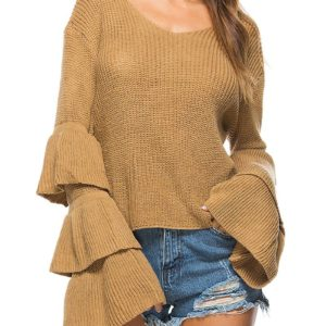 Fashion Fall Spring Bell Sleeve Womens Sweater