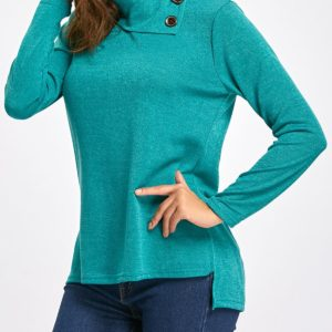 Fashion Solid Fall Spring Cowl Neck Ladies Sweater