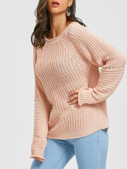 Pink Solid Fall Spring Fashion Womens Sweater